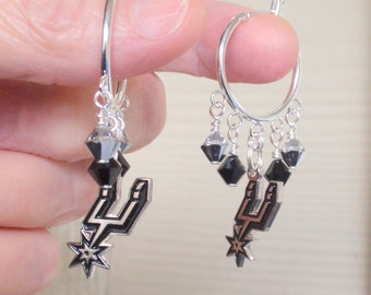 San Antonio Spurs Earrings, Shooting Stars Silver and Black Crystal Spurs Bling, Pro Basketball Spurs Jewelry Accessory Fanwear