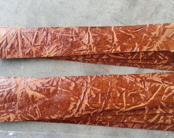 Leather Pieces for Cuffs or Bracelets- Cognac - Real Leather - Lot No. 160702-Q