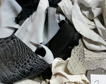 Black, Grey and White Salvaged Leather Scraps- Buckskin Leather Pieces-  One Pound Bag Lot No. 160625-U