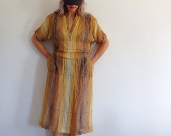 Womens Dress Vintage Striped Mesh