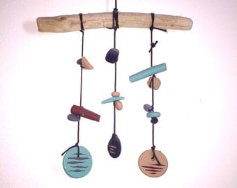 Sand Mobile // Wall Hanging // Polymer Clay Beads with Branch - Handmade