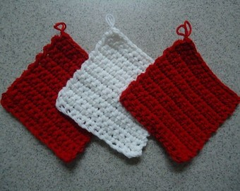 Set of 3 Cherry Red and White Crocheted Potholders - Kitchen Decor