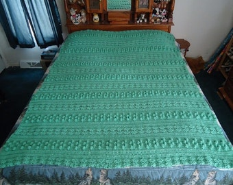 Large Soft Sage Hand Crocheted Triple Pattern Afghan, Blanket, Throw - Home Decor