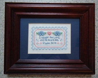 I Sought The Lord - Inspirational Cross Stitch Picture - Wall Decor