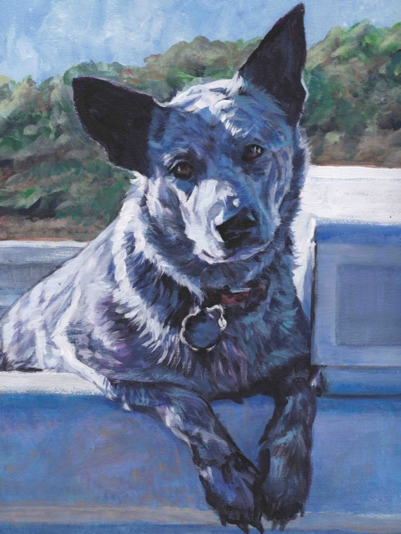 Australian cattle dog art blue heeler canvas print of la for Dog painting artist
