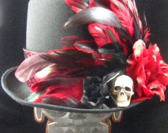 New Style! Crimson Skull Top Hat, Day of the Dead/Halloween/Mardi Gras/Wedding/Cosplay Accessory
