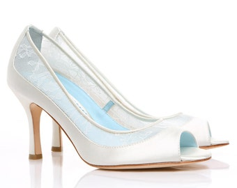 Dyeable Lace Wedding Shoes - Low Heel Diamond White Peep Toe Pumps for Bridal Shoes with Something Blue Bella Belle Miranda