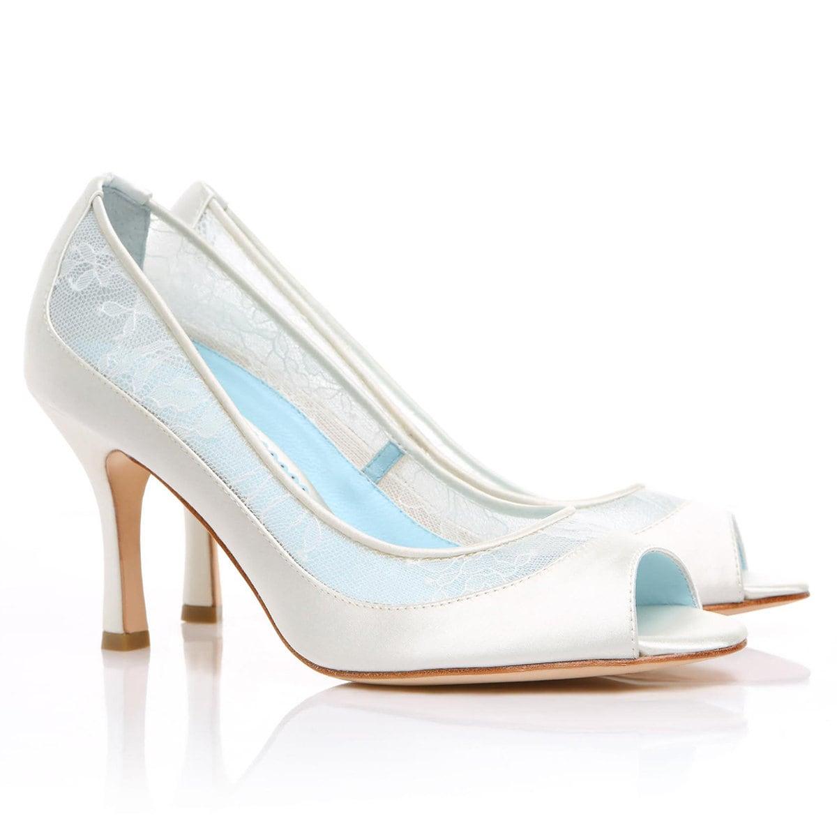 Lace Wedding Shoes Low Heel: Dyeable Lace Wedding Shoes Low Heel Diamond White Peep Toe