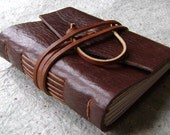 "Small Leather Journal, 3.5""x 4.5"", dark brown, handmade journal by Dancing Grey(1635)"