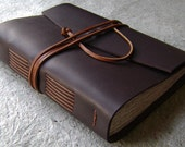 "Leather journal, 312 pages, 5.5""x 7.5"", dark brown, handmade journal by Dancing Grey Studio (1677)"