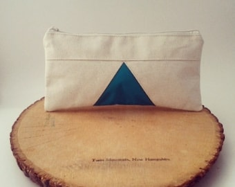 Triangle Pencil Case, Emerald Green Pouch, Geometric, Natural Canvas Zipper Pouch, Pencil Case, Makeup Bag, Cosmetic Bag, Pencil Pouch