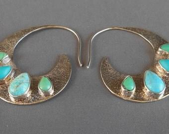 Sterling Silver hoop Turquoise Earrings / Bali handmade jewelry /  silver 925 / 1.5 inch / (#530K)