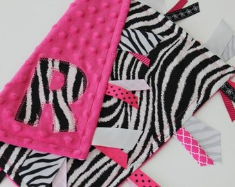 Taggie, Personalized, Baby, Blanket, Minky, Ribbon, Monogrammed, Sensory, Lovey, Zebra, Pink