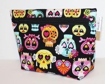 Sugar Skulls for Summer Make up Bag- Accessory Bag
