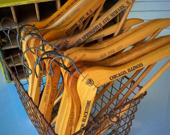 Advertising wooden clothes hangers, set of 5, farmhouse, industrial, rustic