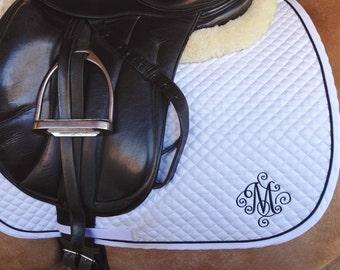 Horse Dressage Saddle Pad-White/Black trim-Custom-Embroidered Scroll Initial