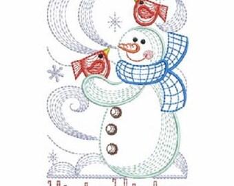 Beautiful embroidered flour sack  dish towel-Snowman