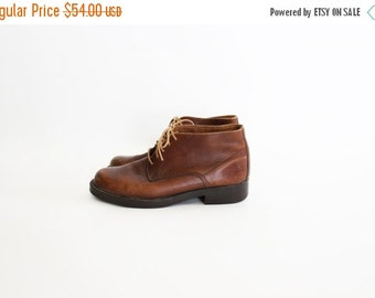 ON SALE Vintage Distressed Brown Leather Rustic Ankle Boots - size 8