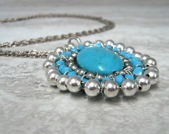 Turquoise Pendant with Silver Beads-Native American Inspired Bohemian Jewelry gifts under 50 by Sharona Nissan