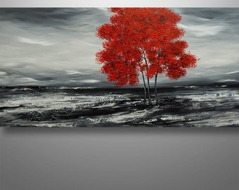 Abstract Painting, Tree Painting, Original Painting, Landscape Painting,  Red Tree, Abstract Wall art, Wall Decor, Large Abstract painting