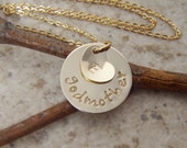Gold godmother necklace - Dainty godmother and tiny initial necklace - Gold fill hand stamped godmother necklace- Photo NOT actual size