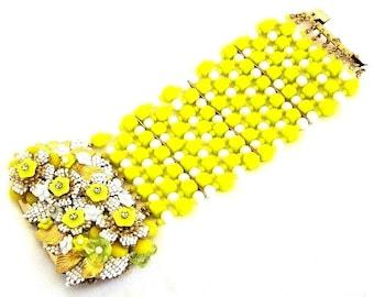 Stanley Hagler Ian St Gielar Yellow Glass Floral Cuff Bracelet