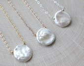 White Pearl Necklace, Pearl Bridesmaid Jewelry, Wedding Necklace, Organic Necklace, Natural Pearl, Rose Gold, Yellow Gold, Sterling Silver