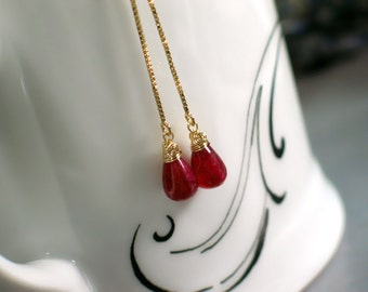 Teardrop Ruby Threaders | Berry Red Smooth Briolettes Earrings | Wire Wrapped | 14k Gold Filled Long Chain Dangles | July Birthstone