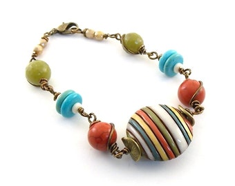 Rainbow of Colors Bracelet - Beaded Bracelet - Golem Studio Bracelet - Turquoise Howlite Bracelet - Brass Bracelet - Antique Brass - B015