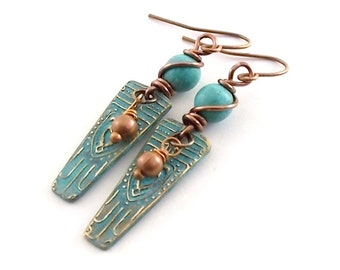 Bronze Copper Turquoise Earrings - Antique Copper Earrings - Artisan Earrings - Boho Earrings - Tribal Earrings - Turquoise Patina - AE052