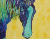 Chippy by Darlene Muto blue, teal, purple, horse yellow and white background Acrylic Original Painting