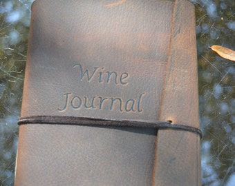 Handmade Leather Wine Journal Free Personalization
