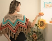 SALE - Chevron Poncho with Tassels - READY to SHIP size in Teen-Adult