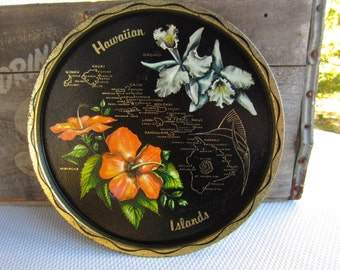 Vintage Hawaiian Islands Souvenir State Metal Tray
