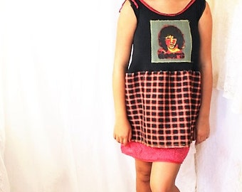 Small/Medium Jim Morrison Dress/Babydoll Dress/Upcycled Clothing/ Summer Mini Dress/Vintage Doors/Mycah Williams Art/Jim Morrison dress