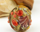 Lampwork Glass Hollow Bead,  Etched Matte Green Orange 'Autumn Kissing Ball'