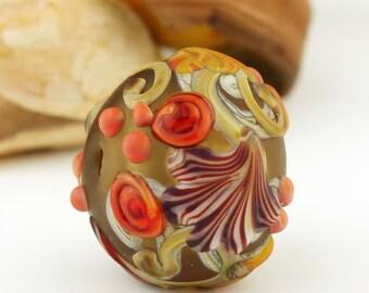 Lampwork Glass Hollow Bead,  Etched Matte Green Orange 'Autumn Kissing Ball'
