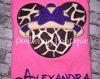 Safari Animal Kingdom Minnie shirt with name