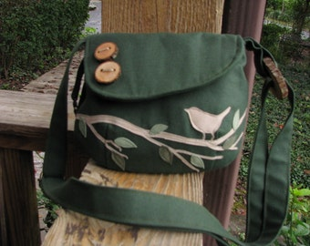 "9""X7"" Singing Bird on a Branch Shoulder Bag/Hunter Green Water Repellet Canvas /Purse/Messenger/3 Large Open Pockets/1 Large zipper pocket"