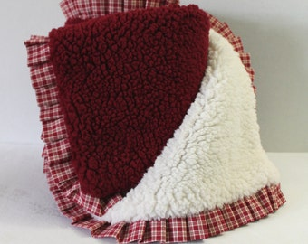 Ultra Soft Minky Blanket Red and White Americana