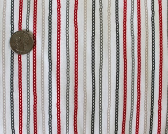 Red Gray Tan on White Chain Print Fabric by the Yard Waverly Chains Onyx