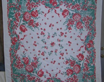 1950s PRINT KITCHEN TABLECLOTH - Fruits & Flowers