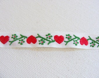 """Vintage 1960's Embroidered Trim 1/2"""" Hearts and Flowers"""