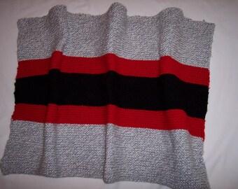 Grey, Red, Black Striped Unisex Baby Blanket