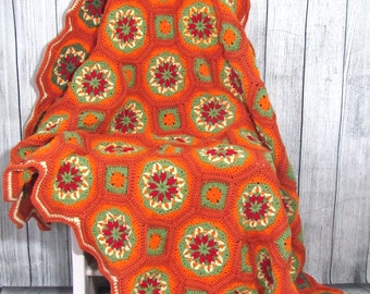 Handmade crocheted Thanksgiving fall afghan  / throw / blanket. Free US shipping.