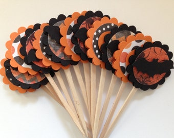 Halloween Cupcake Toppers, Bat Cupcake Toppers, Pumpkin Cupcake Toppers, Halloween Decorations - Set of 12