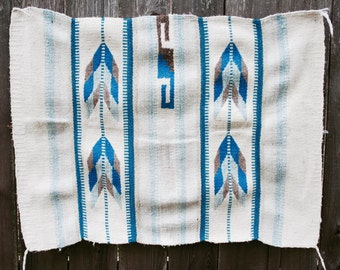 Vintage Southwestern Weaving Rug Geometric Wool Navajo Aztec Arrows Feathers
