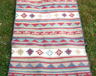 Vintage Southwestern Kilim Rug Geometric Crosses Wool Handwoven 2.5 x 6 Ft  SALE
