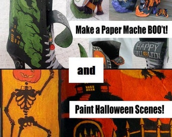 Buy Two and Save - Make Paper Mache Witch BOO'ts & Paint Vintage-looking Halloween Scenes (PDF Tutorials)
