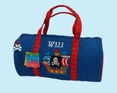 Child's Monogrammed Stephen Joseph PIRATE Quilted Duffle Bag